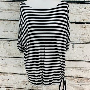 Chico's Top Black White Striped  Large/XL